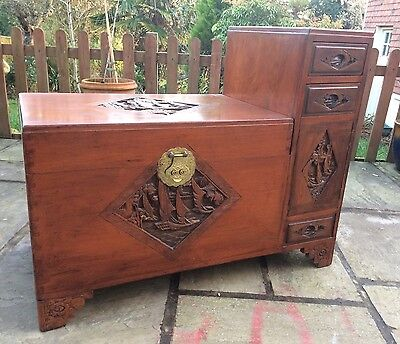 Beautiful Vintage Chinese Camphor Wood Chest-Uk Based Seller.