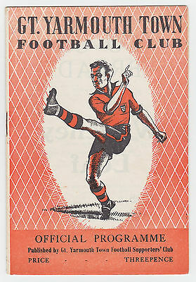 Great Yarmouth v Cambridge United - 1957/58 East Anglian Cup - Programme