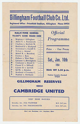 Gillingham Res v Cambridge United - 1953/54 Eastern Counties League - Progamme