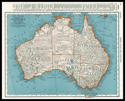 AUSTRALIA Queensland New South Wales 1945 antique color lithograph Map