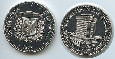 GS544 Dominikanische Republik 30 Pesos 1977 KM#46 Silber Central Bank TOP RAR