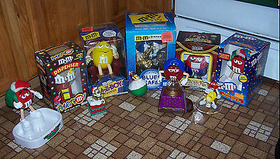 Lot of M&M's Collectibles Dispensers, Ornament,  Shaker + More