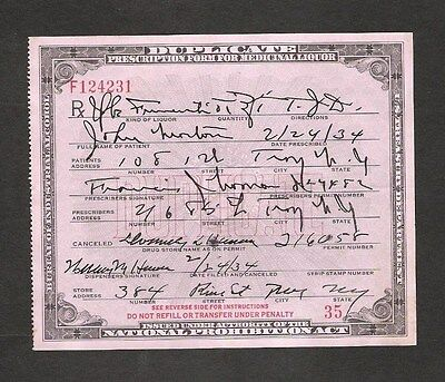 U.s. 1934 Prohibition Act Prescription For Whiskey, Troy, New York