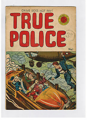 TRUE POLICE COMIC No. 1 1950s Streamline - Crime Does Not Pay!