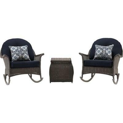 Hanover Outdoor SMAR-3PC-NVY San Marino 3-Piece Rocking Chat Set in Navy Blue
