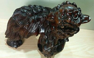 Chinese Canton Wood Foo Dog Statue w/ 2 Moveable Balls Inside
