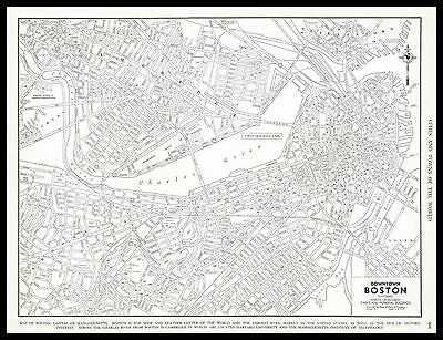 City of BOSTON Massachusetts United States 1937 antique detailed view Plan Map