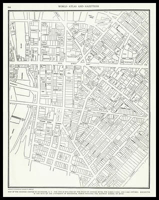 City of ROCHESTER New York United States 1937 antique detailed view Plan Map