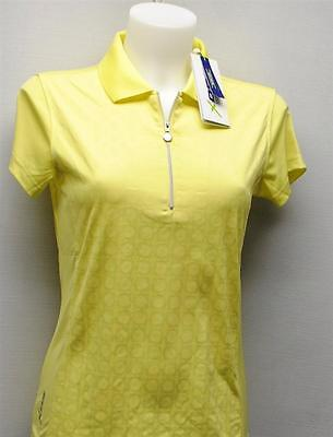Ladies Daily Sports Aileen zip polyester cap sleeves golf polo shirt yellow XS