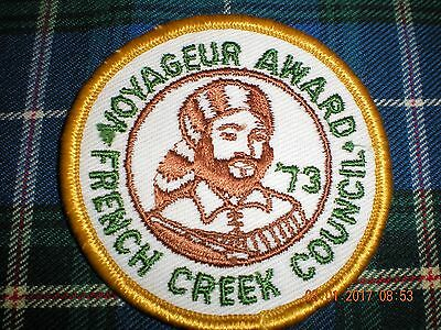 boy scouts BSA from French Creek Council from 1973 voyageur award  badge patch