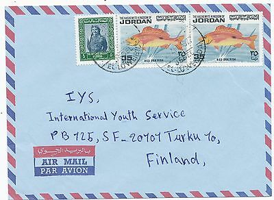 Jordan 1977 fish stamp  on  cover to Finland