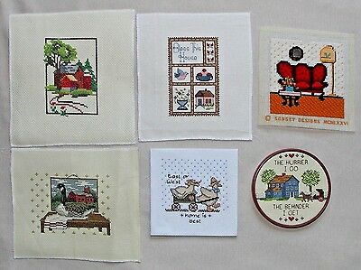 Lot Of 6 Finished/completed Counted Cross Stitch Kits