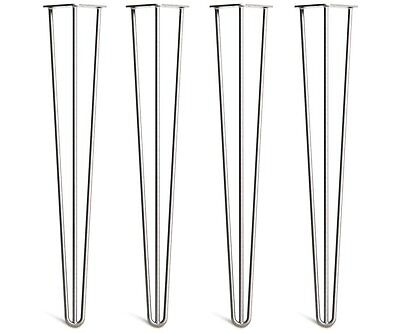 """Set of 4 Hairpin Legs - 28"""" 71cm, Table/desk height 3 Prong bare steel *NEW*"""