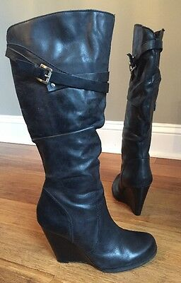 GUESS Black Distressed Leather Knee High Scrunch Wedge Boots Sz 7 M Mally