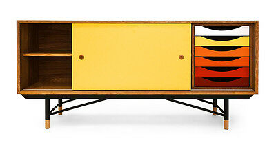 1955 Color Theory Mid-century Modern Sideboard Credenza, Natural/Yellow Drawers