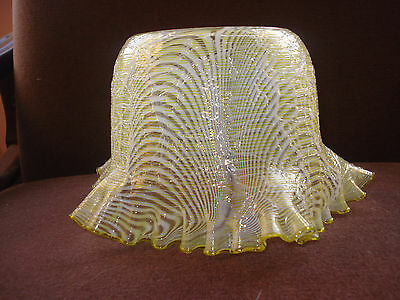 C19 /20Th Glass Frill Edged Gas Lamp Shade