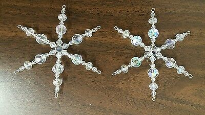 Two Crystal Glass Beaded Snowflake Ornament Suncatcher Decorations  *30