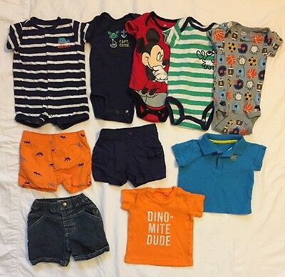 Baby Boys Lot Of Clothes 3 Months Shorts Shirts Onesies Romper Polo Singlet EUC