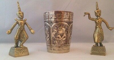 Vintage Brass Beaker And Two Statues - Oriental