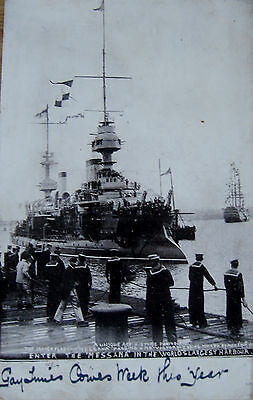 """Early Printed Postcard. French flagship """" Messana """"."""