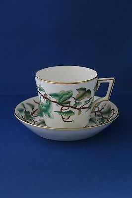 Antique Royal Crown Derby Green Leafed Pattern Cup And Saucer 1877-1890