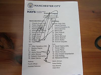 Signed Team Sheet Manchester City V Arsenal 18/12/16 Garcia & Dickov