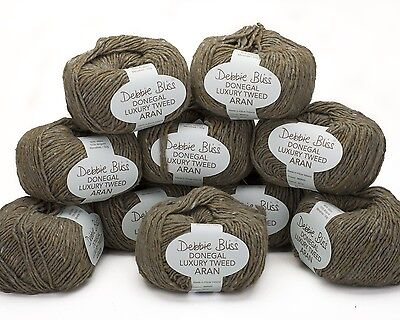 10 x 50g.Mink Brown  Debbie Bliss Donegal Luxury Tweed Aran - sh 22