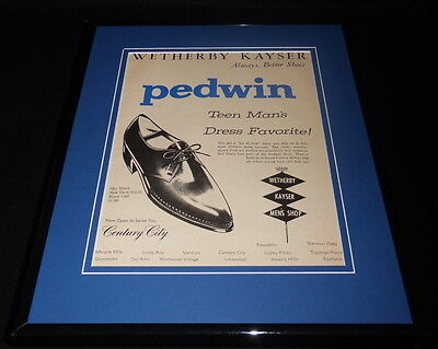 1964 Pedwin Shoes Wetherby Kayser Framed 11x14 ORIGINAL Vintage Advertisement