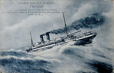 """Early Printed Postcard. French ship """" Timgad """", in stormy seas."""