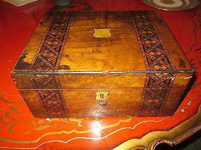 Antique Fruitwood Writing Slope Decorative Marquetry Inlay Complete