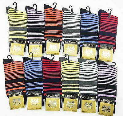 New 12 Pairs Mens Solid Loop Strip Dress Socks Casual Cotton MultiColor 10-13