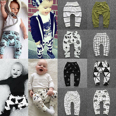 Kids Baby Boys Girls Harem Pants Cotton Trousers Toddler PP Leggings Sweatpants
