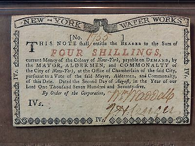Colonial Classic New York City Water Works Note. 4 Shillings. PMG-55