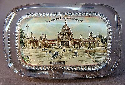 Government Building 1901 PAN AMERICAN EXPO Buffalo N.Y. Empire glass paperweight