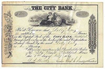 1861 The City Bank Stock Certificate - Biddeford, Maine