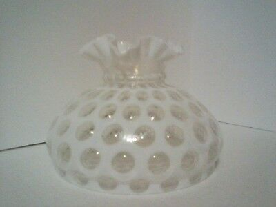 "Fenton Coin Dot opalescent white lamp shade 10"" gwtw"