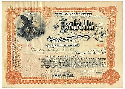 1898 The Isabella Gold Mining Company Stock Certificate