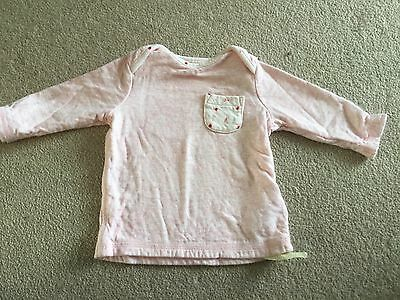 Girls pink strawberry flower tshirt top from Next wth pocket size 3 - 6 mths NWT