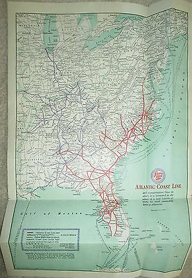 "Vintage Railroad  Map Atlantic Coast Line 1940's 10 1/2"" x 16"""