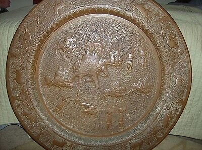 """Antique Large 34"""" Copper Brass Persian Turkish Tray Table Top Wall Art Bohemian"""