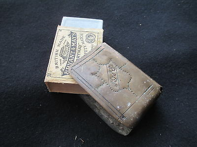 "WW1 Trench Art - Brass from shell. Match Box Holder. Dated ""1918"" Initials ""AES"""