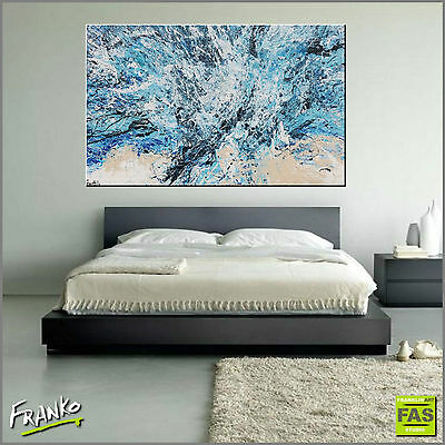 Modern Textured Abstract Painting Art Canvas Blue 160cm x 100cm Franko Australia