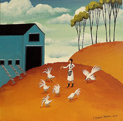ORIGINAL painting folk art landscape chickens hen feed country girl farm rooster