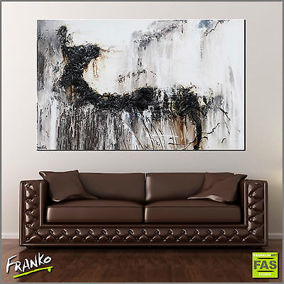 Textured Abstract Painting Art Canvas Black Grey 160cm x 100cm Franko Australia