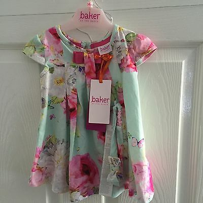 Ted Baker Baby Girl Floral Dress 3-6 With Matching Headband Brand New