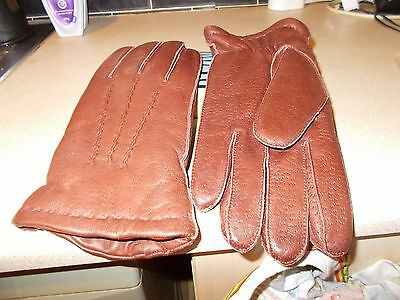 Mens Brown Real Leather Dents@founes Good Quality Driving Winter Gloves Med Size