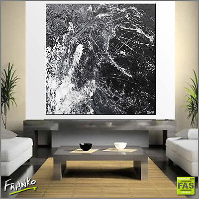 Black Textured Abstract Painting Art Canvas 120cm x 120cm Franko Australia