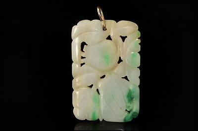 Antique Chinese Carved Natural Green Jadeite Jade 14K Gold Pendant