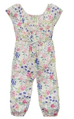 Monsoon Baby Girls Floral Jumpsuit / Dungaree 6-12 Months