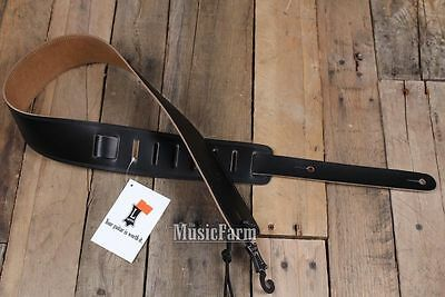 "Black Levy's 2.5"" Leather Double Stitch High Quality Guitar Strap - Brand new"